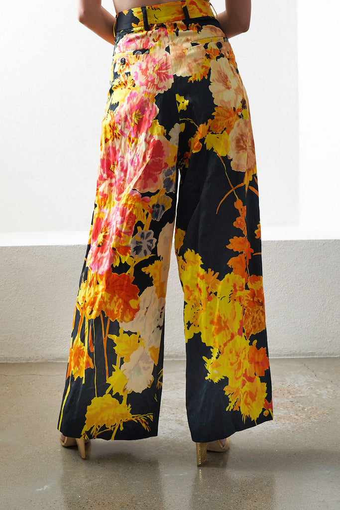 DRIES VAN NOTEN - podium floral trouser, black