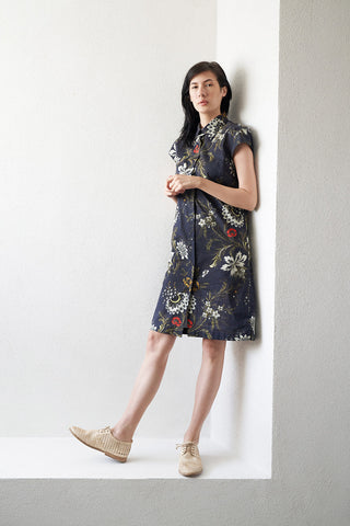 DALVI cotton button down dress, navy floral