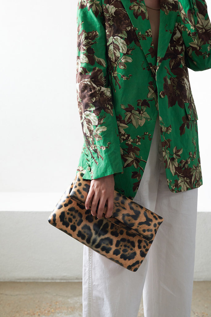 DRIES VAN NOTEN - fold over clutch, leopard