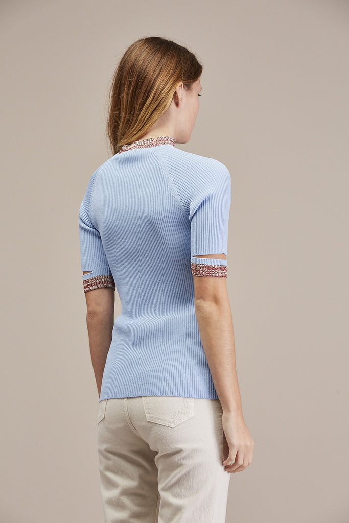 Mock Neck Short Sleeve Shirt, Periwinkle by Nomia