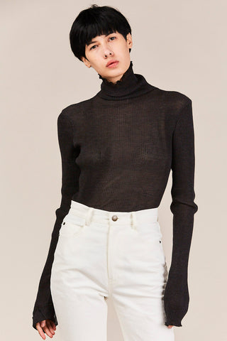 Accordion Turtleneck, Charcoal