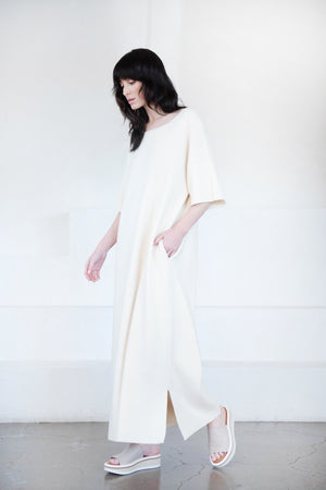 Lauren Manoogian - interlock tall tee dress, raw white