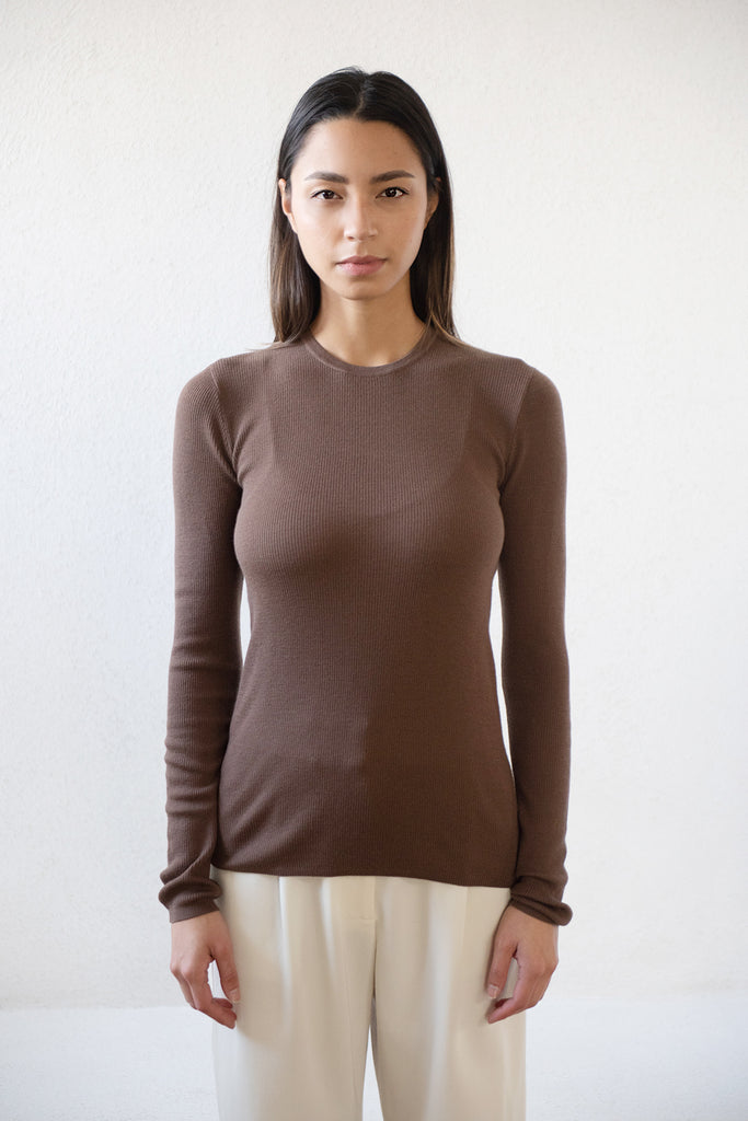 TIBI - ribbed crewneck sweater, wood