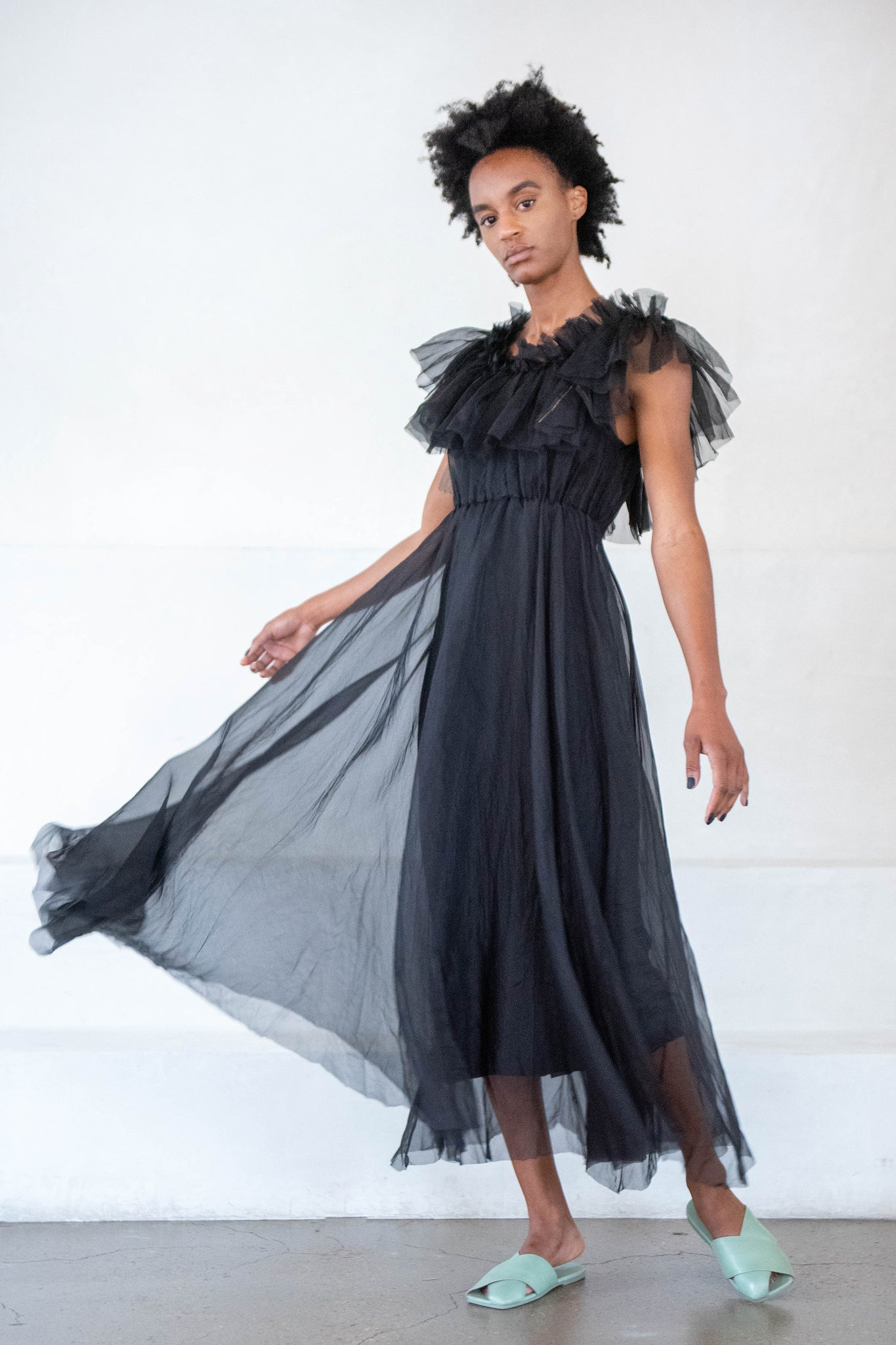 Louiza Babouryan - organza shushan dress, black