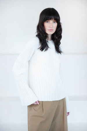 LOULOU STUDIO - HAIRAN knitted top, ivory