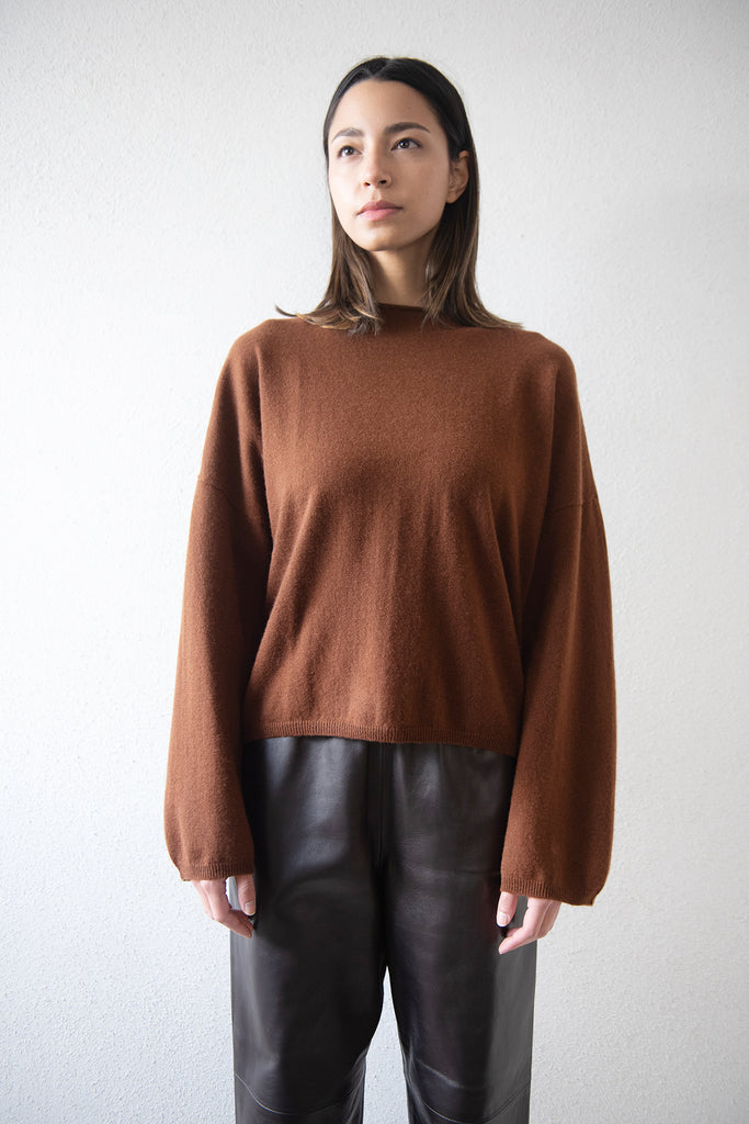 LOULOU STUDIO - VACCA cashmere sweater, chocolate