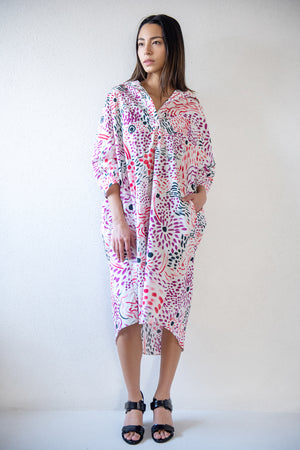 long sleeve dress, floral print
