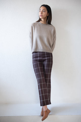 button trouser, burgundy plaid