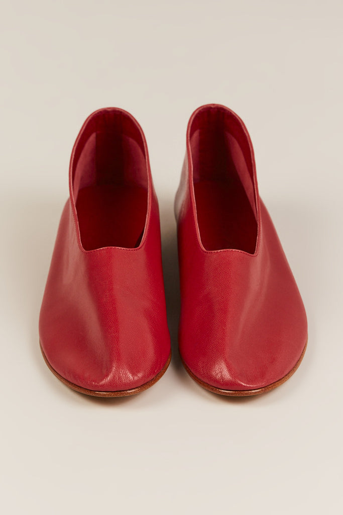 Martiniano - Leather Glove Flats, Red - Shoes