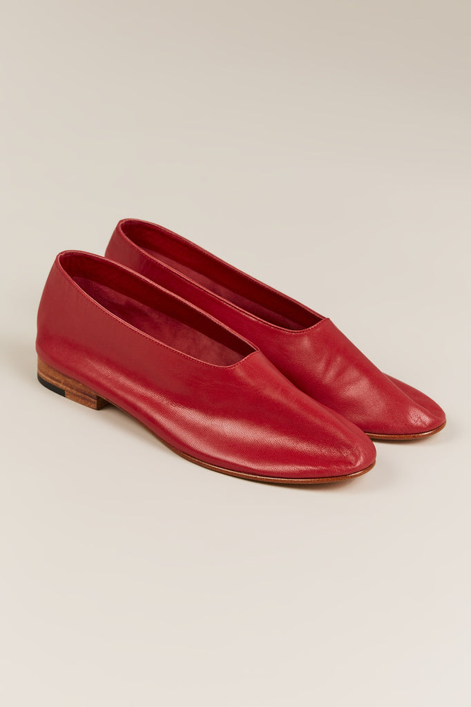 Leather Glove Flats, Red