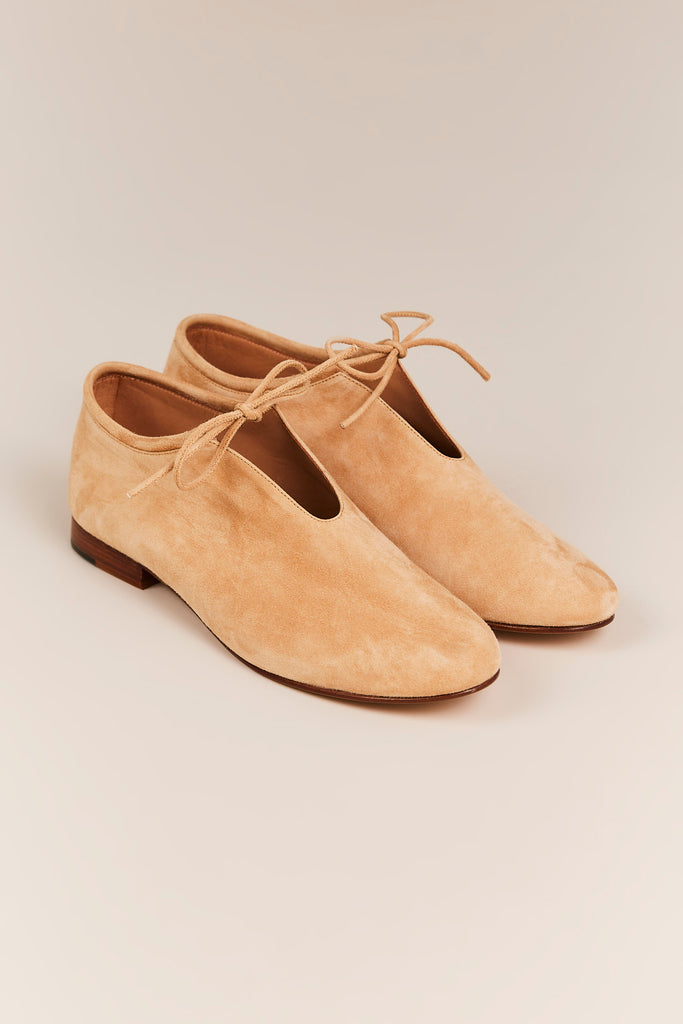 Suede Booties w/ Laces, Sand