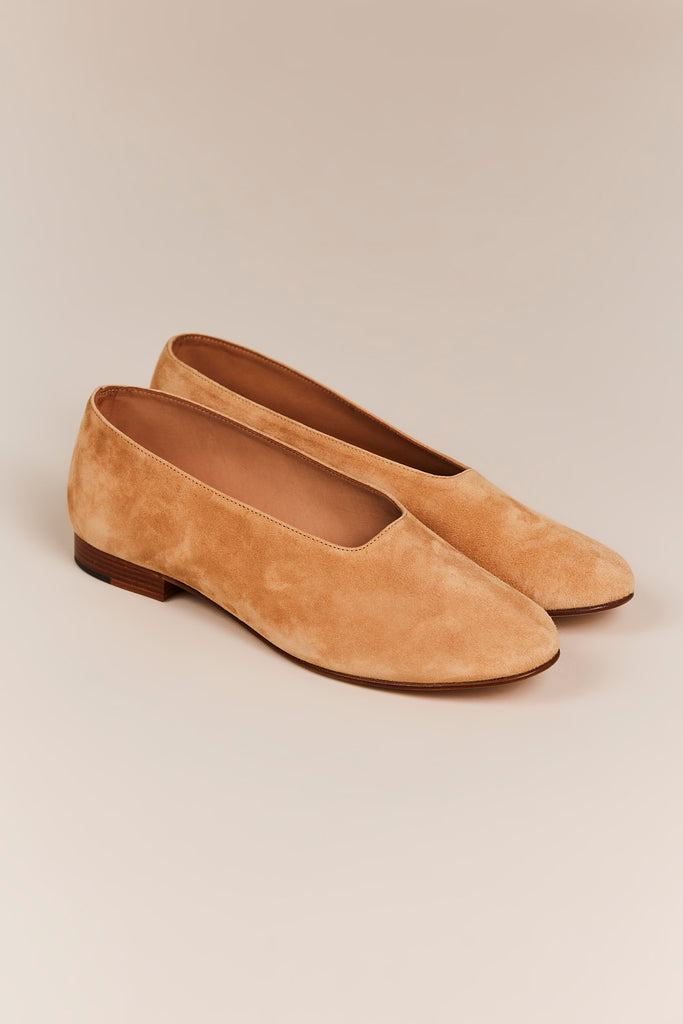 Suede Leather Glove Flat, Sand