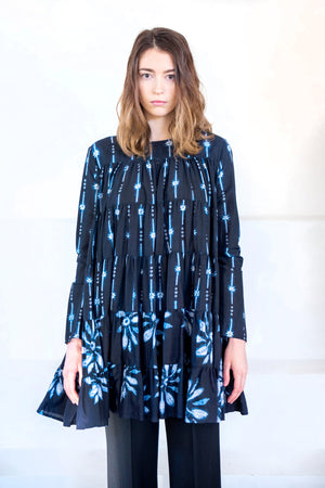 MERLETTE - soliman shibori dress, navy floral