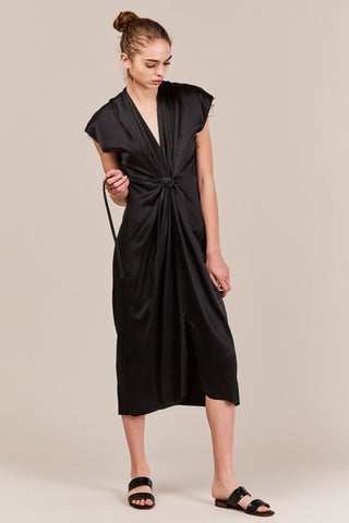 Black Charmeuse Knot Dress