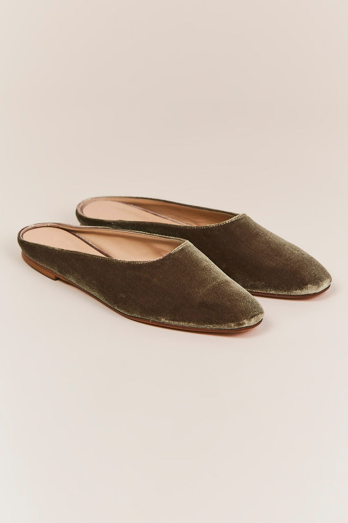 Maryam Brown Velvet Flat