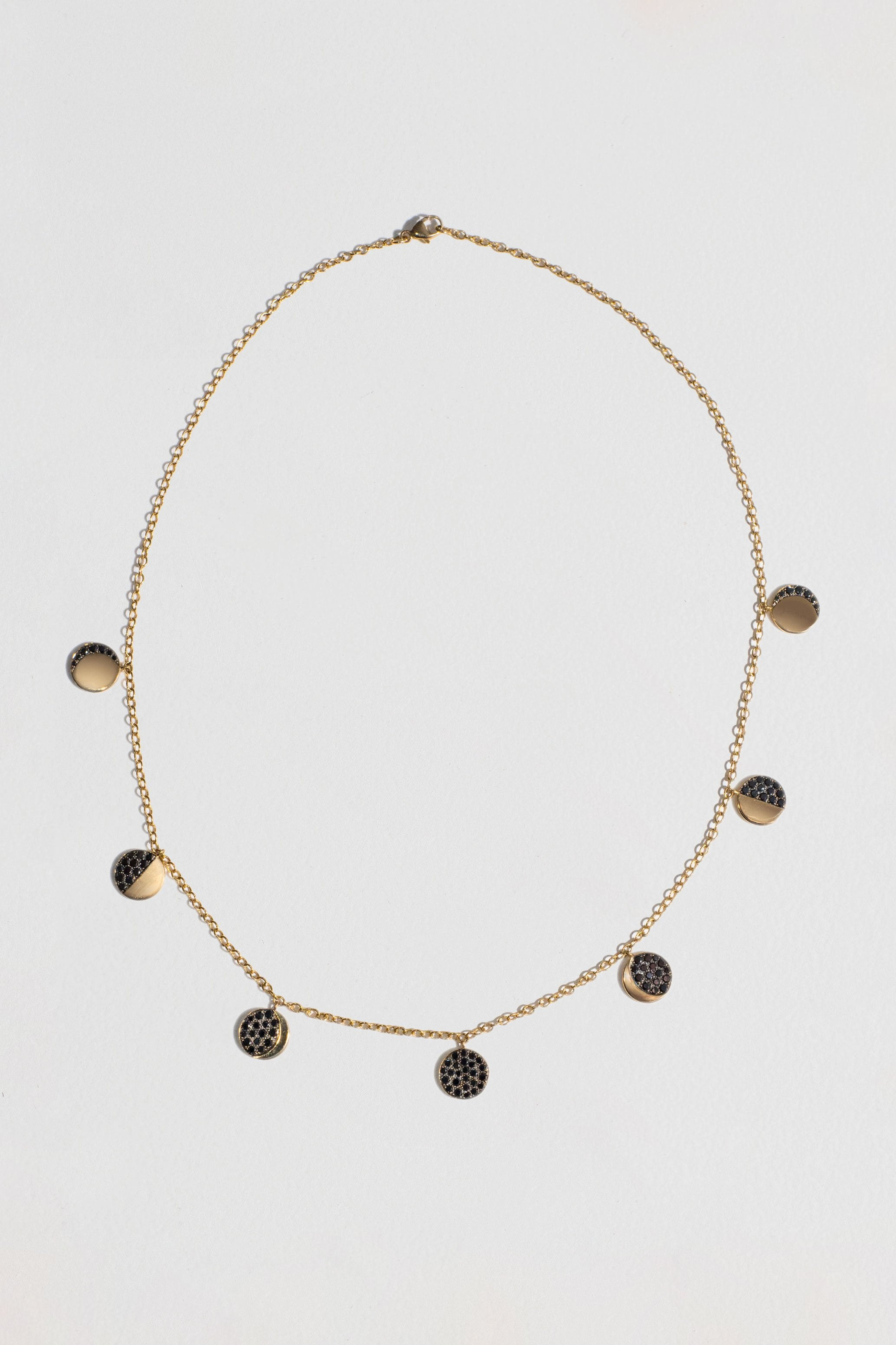 Pamela Love - Moon Phase Necklace, Gold & Black Diamond