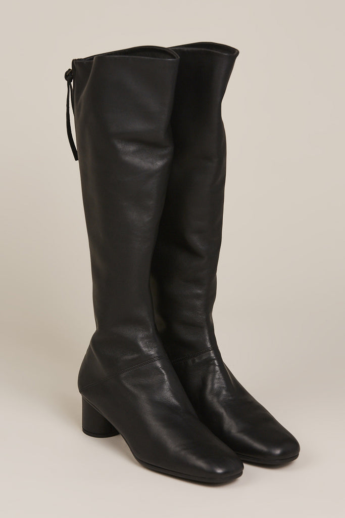 Tall Leather Boot, Black
