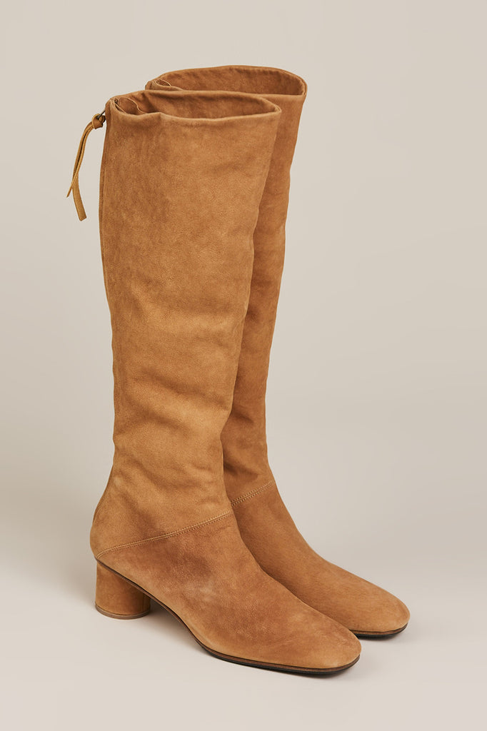 Tall Suede Leather Boots, Camel