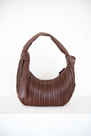 NEOUS - neptune pleated hobo, chocolate
