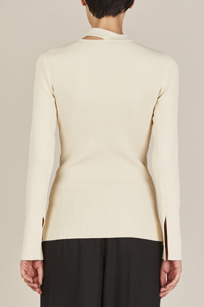 Nomia - Slit Collar Sweater, Ivory - Sweaters