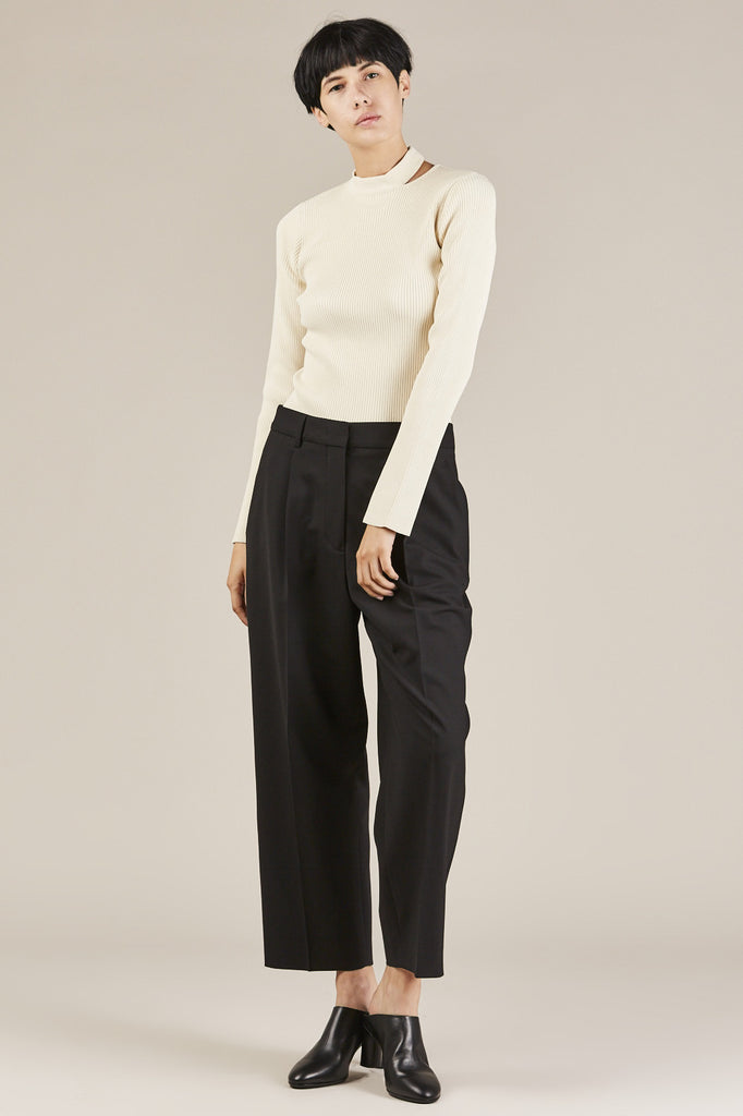 Slit Collar Sweater, Ivory