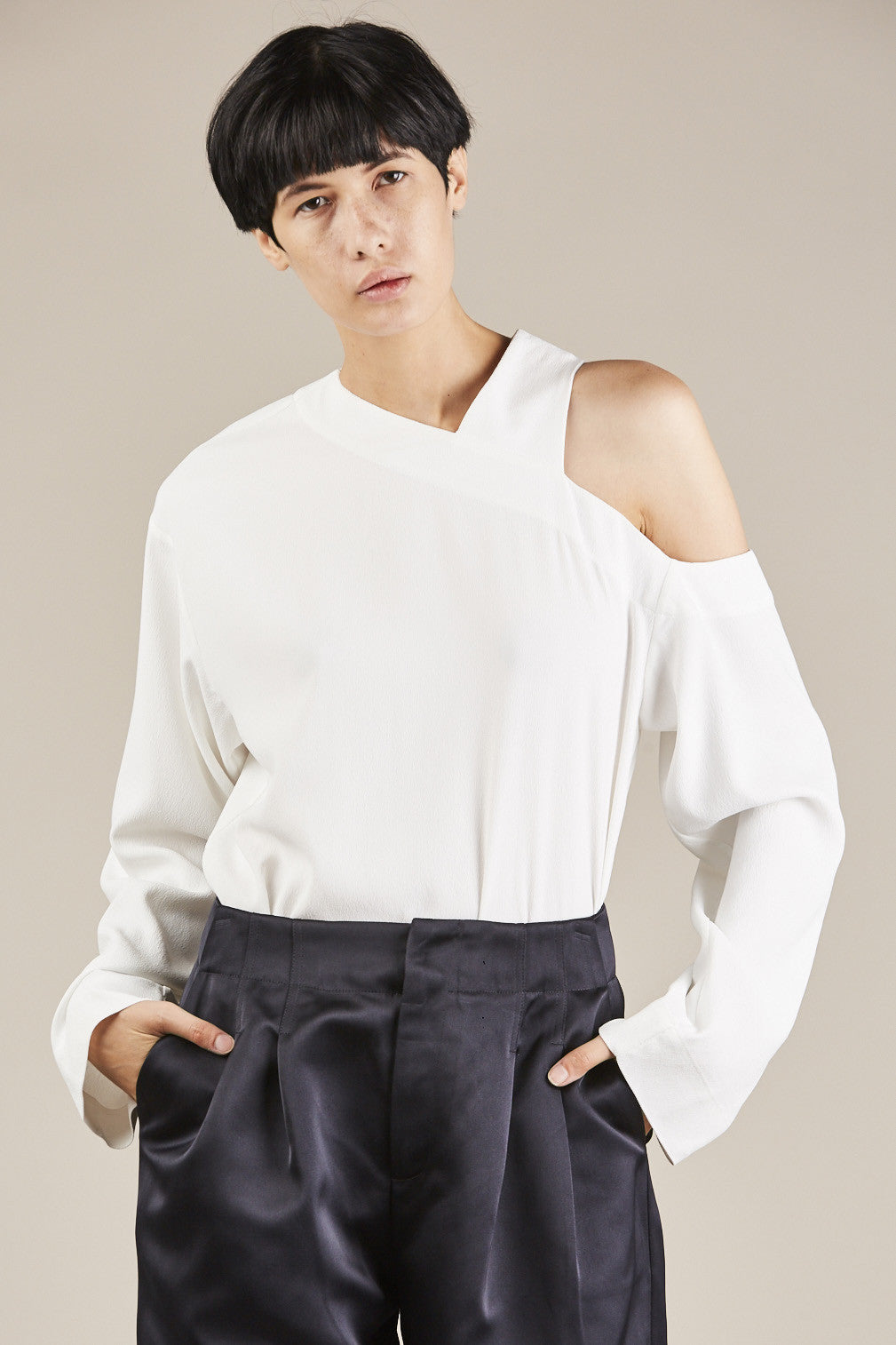 Nomia - Asymmetrical Cut Out Top, Ivory