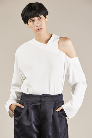 Asymmetrical Cut Out Top, Ivory
