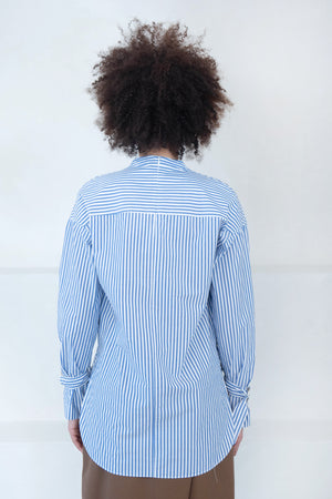 Nomia - washed cotton shirt, blue and white stripes