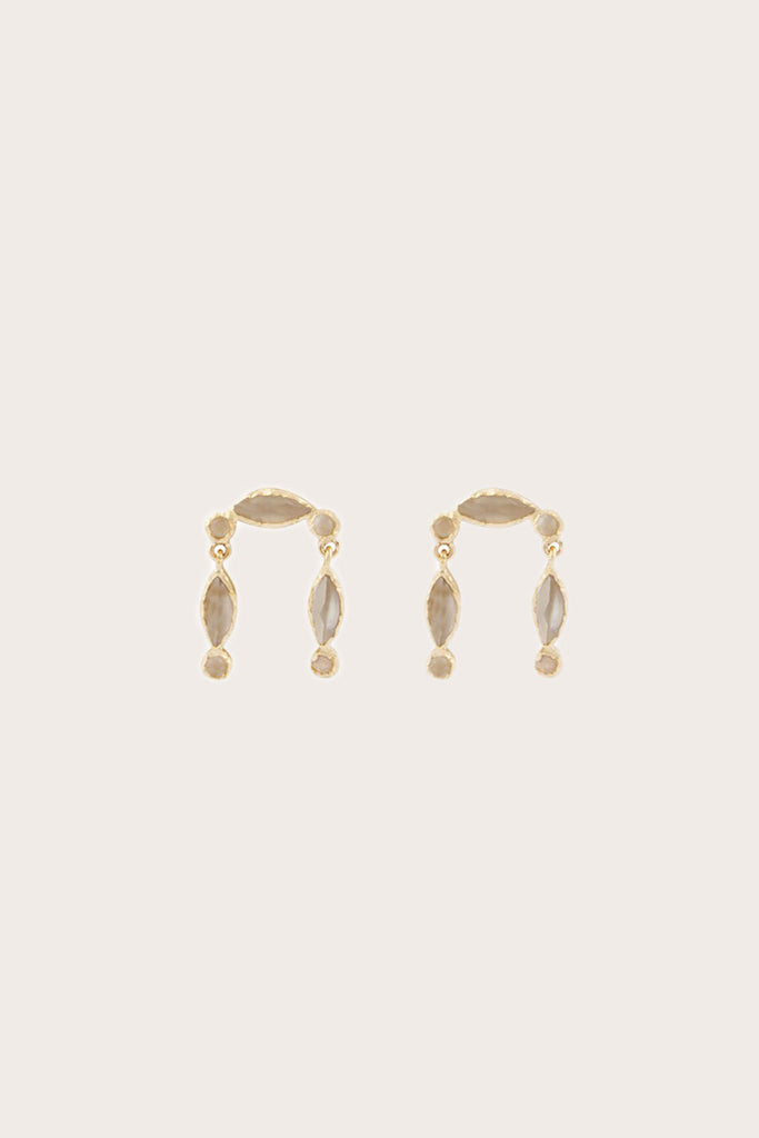 Nour Earring, Gold with Moonstone