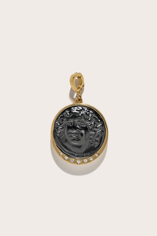 Small Nymph Black Glass Coin Scattered Diamonds, Gold