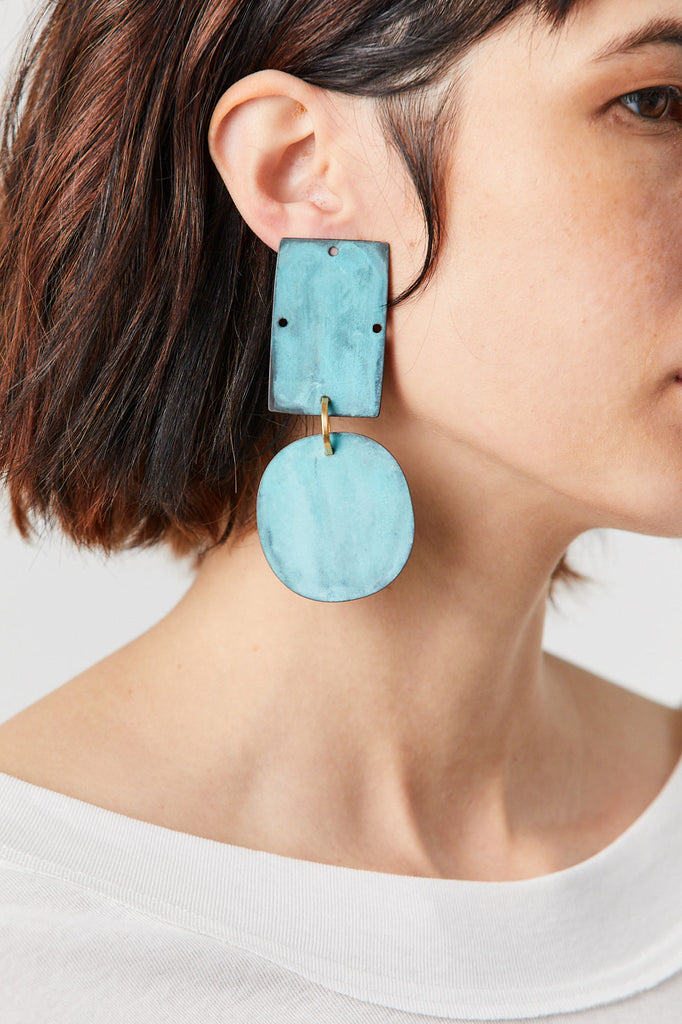 Overt Earrings, Cyan Patina