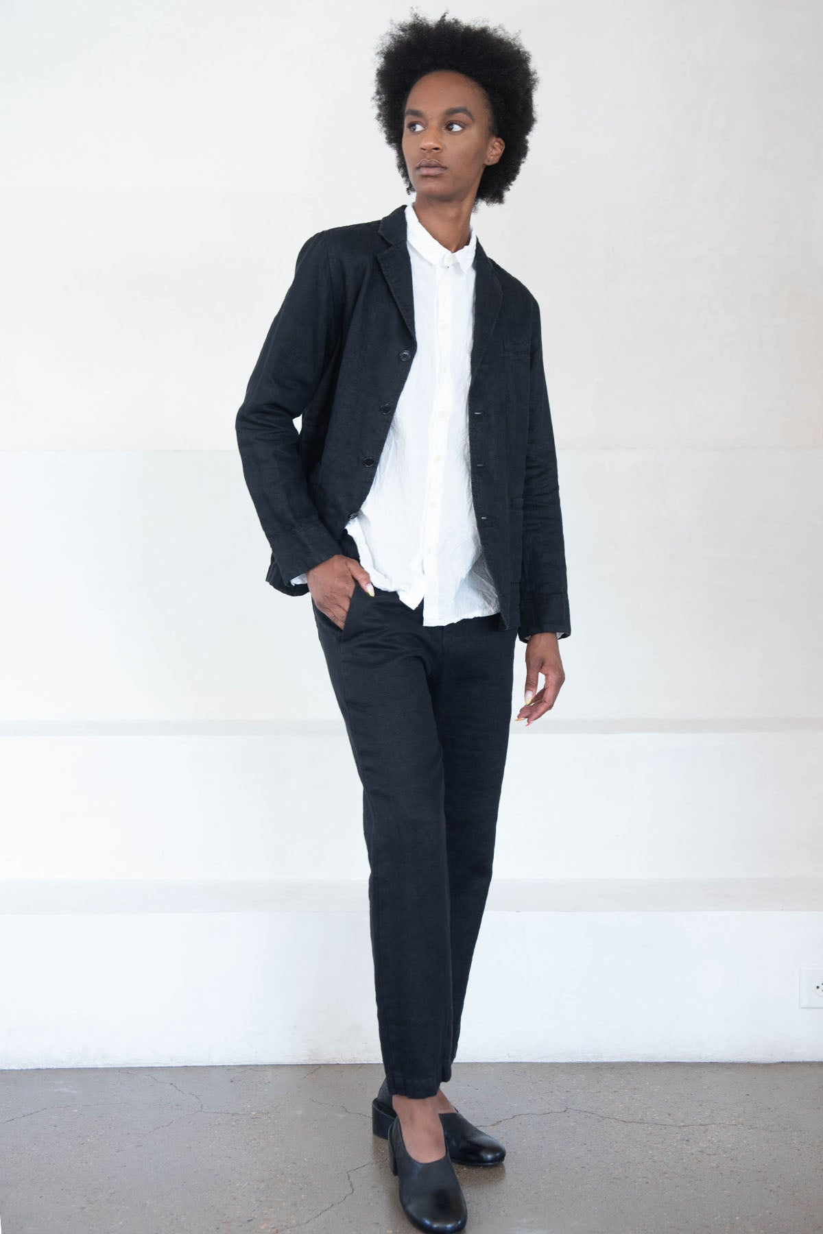 pas de calais - button down blazer, black