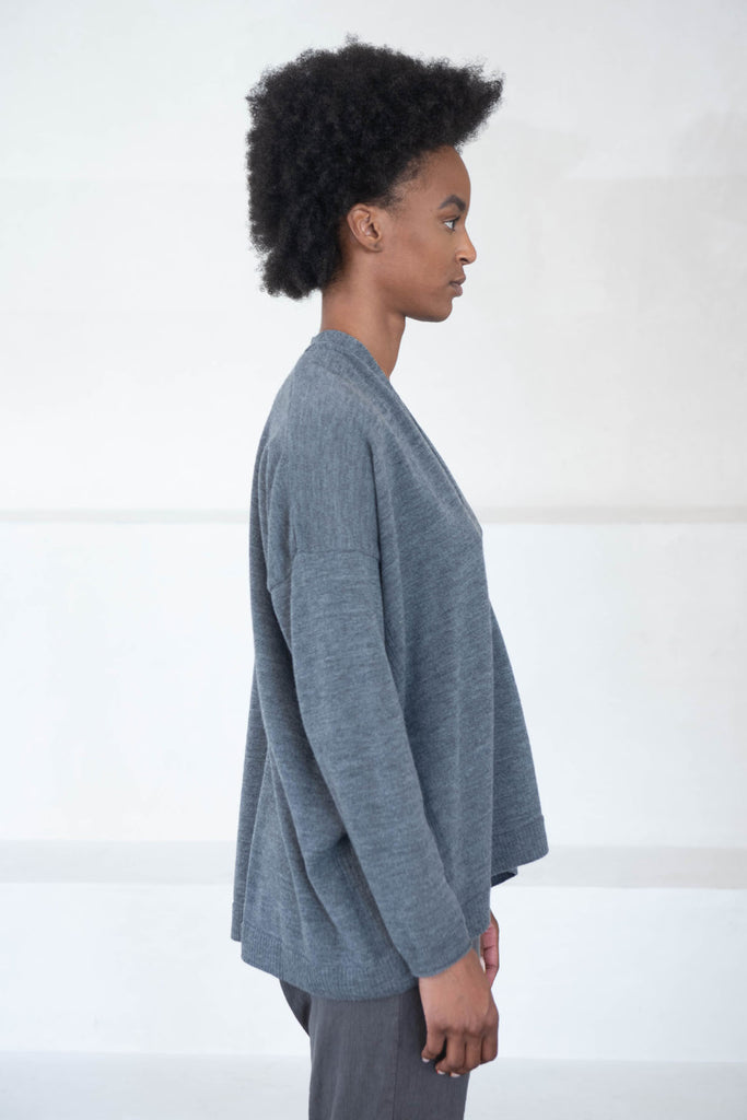 pas de calais - wool knit cardigan, grey