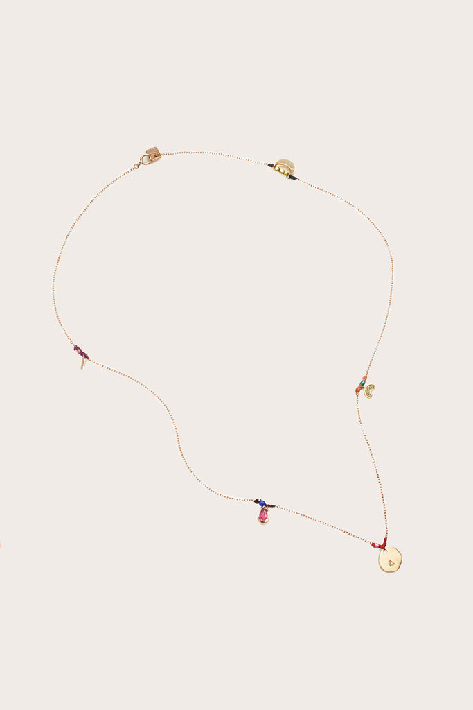 Scosha - Patchwork Charms Necklace, Gold