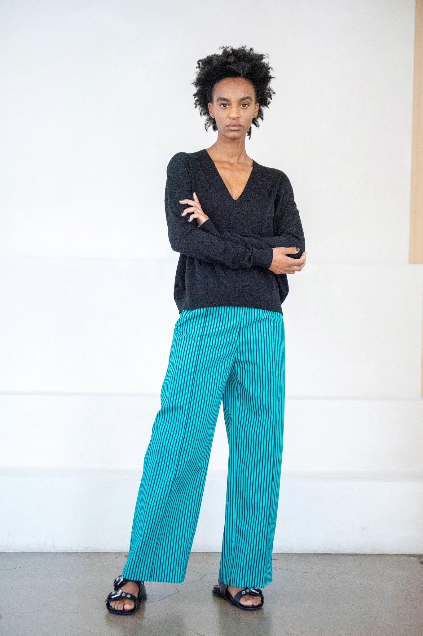 PLAN C - striped trouser, green and black