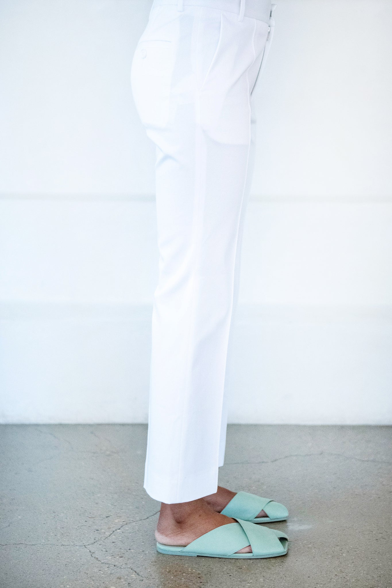 PLAN C - cotton trouser, white