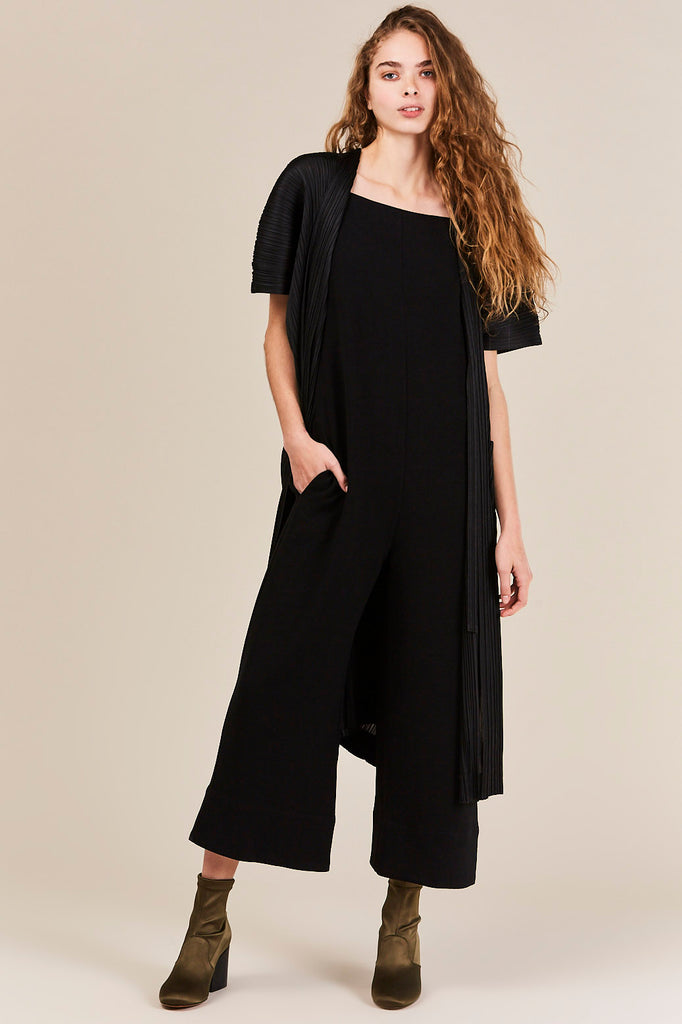 Long Pleated Cardigan, Black