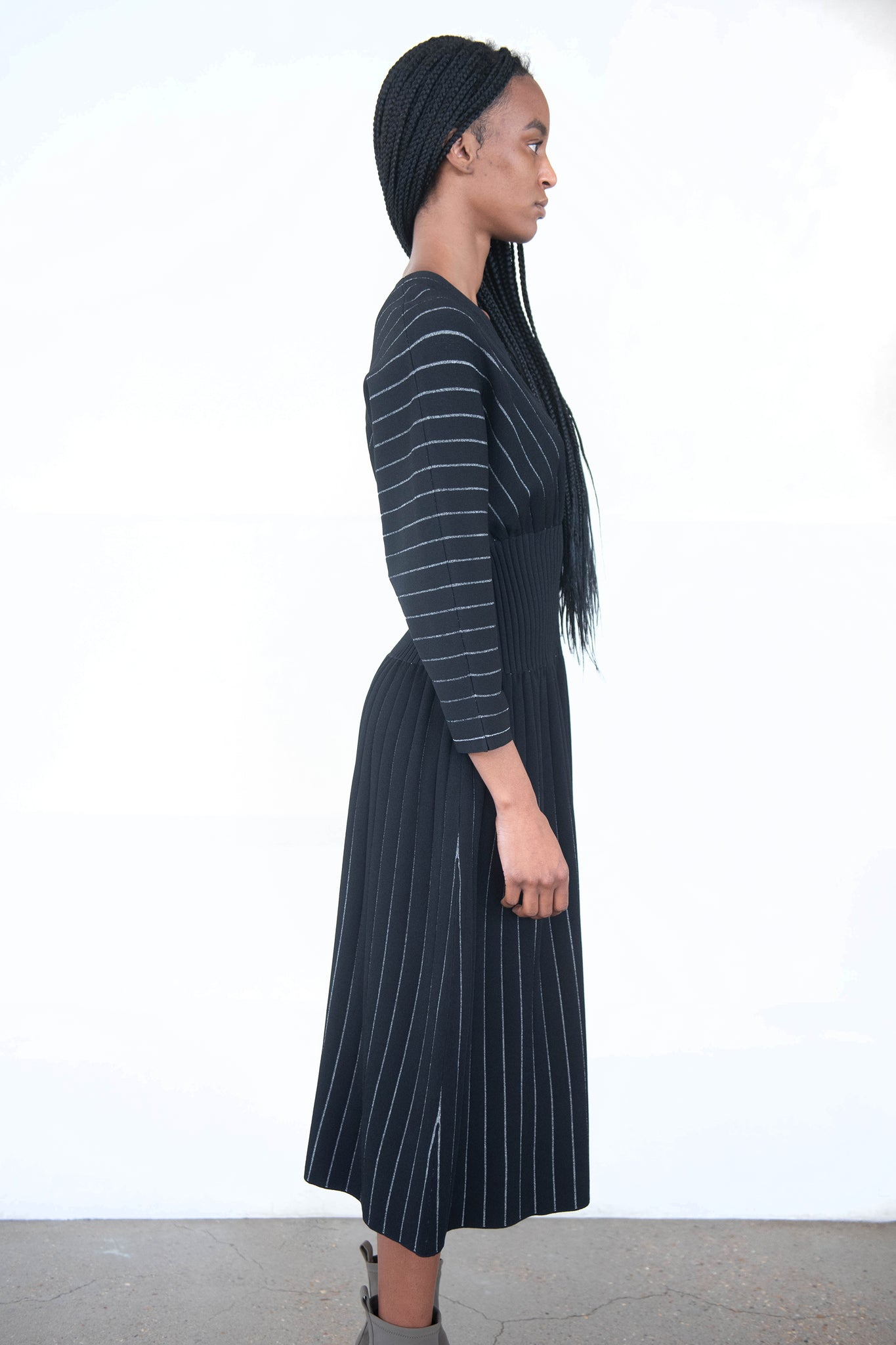 proenza schouler - chalk stripe knit dress, black and ecru