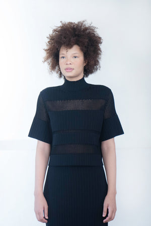 proenza schouler - ribbed knit cropped top, black