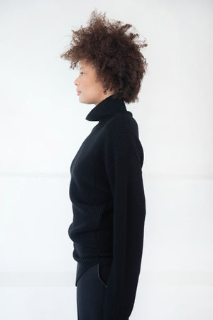 proenza schouler - merino asymmetrical turtleneck sweater, black