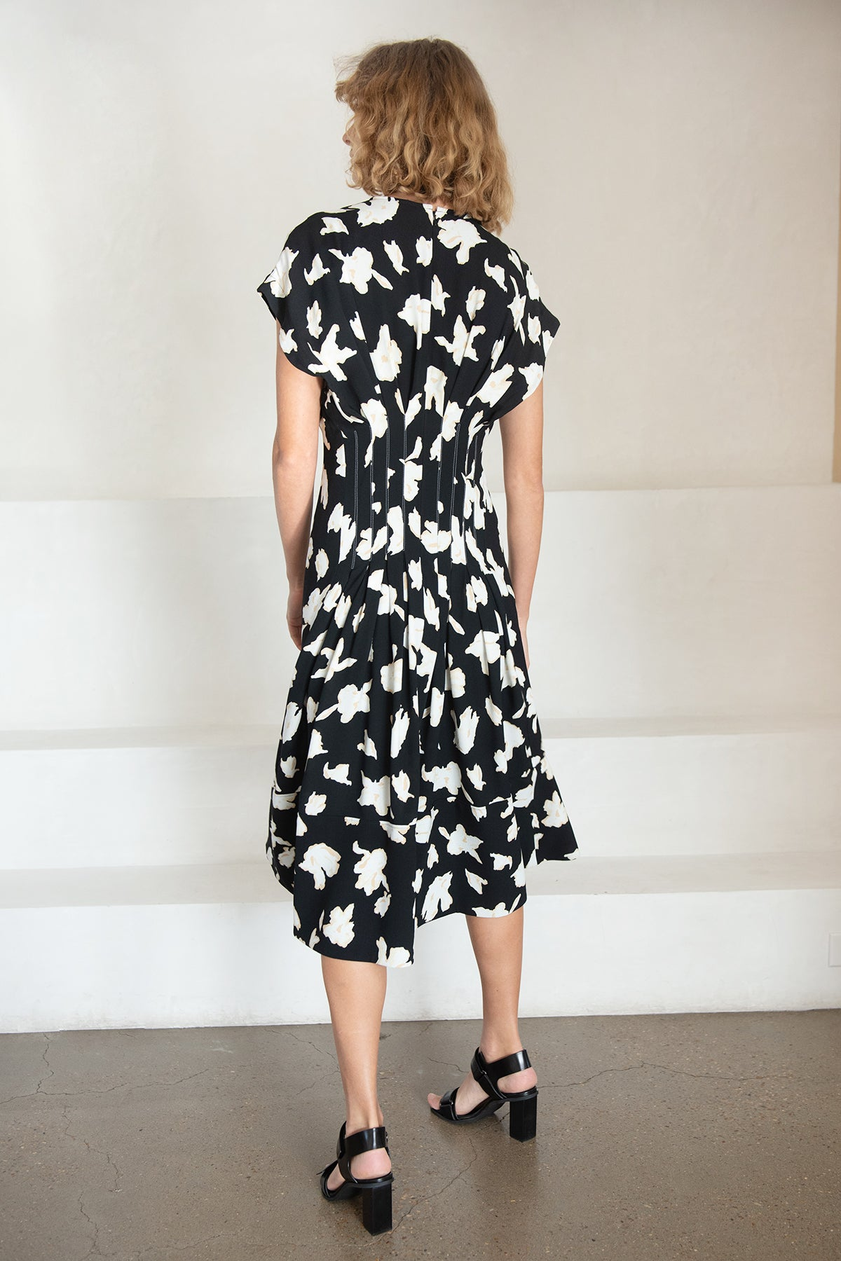 proenza schouler - georgette short sleeve dress, black and white
