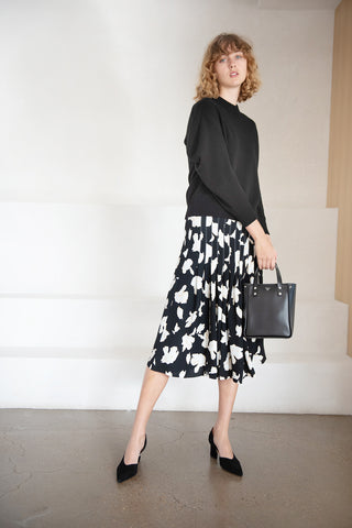 printed georgette skirt, black and white