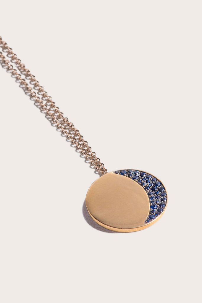 Pamela Love - Large 1/4 Pave Moon Phase Pendant, Gold & Sapphire