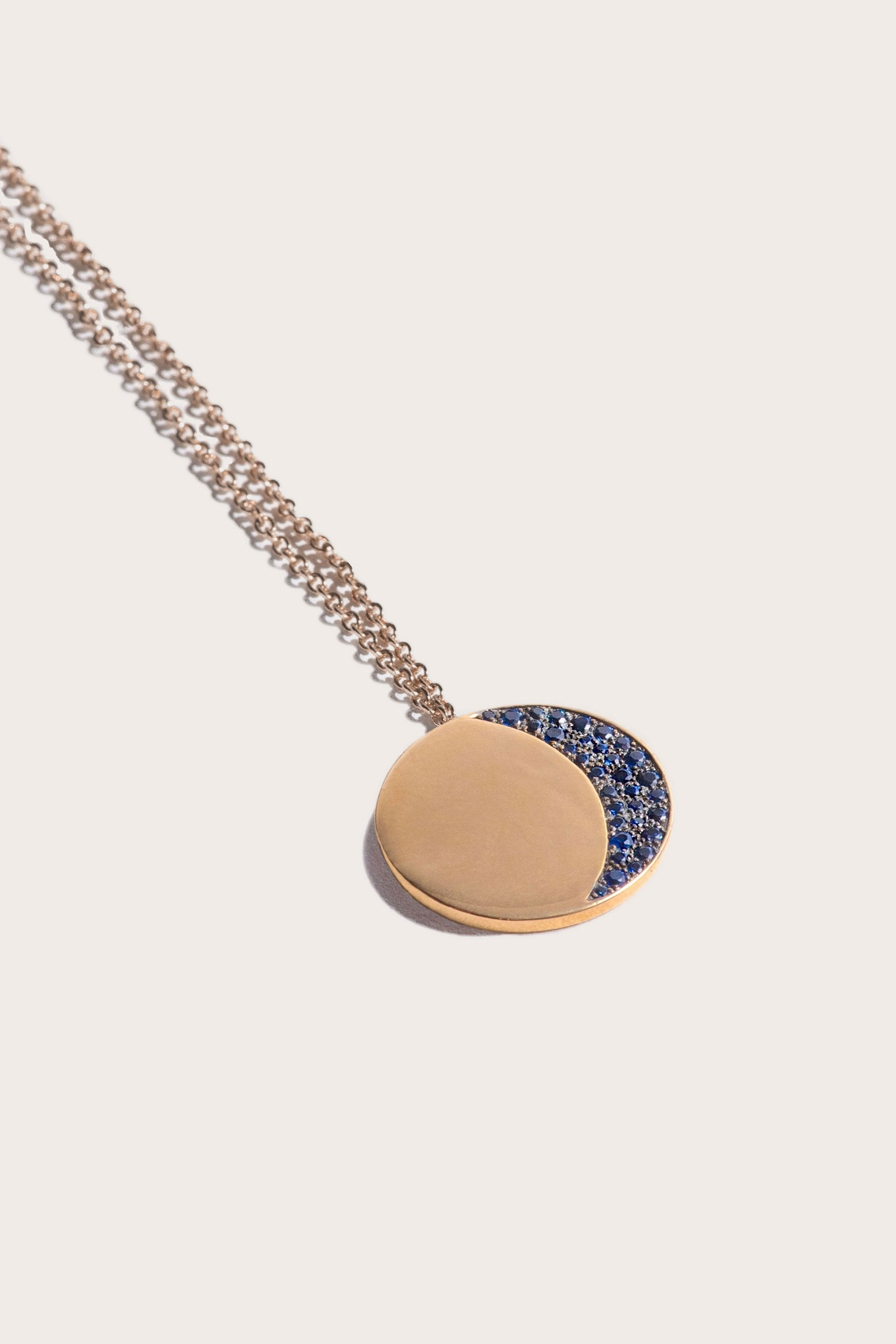 Large 1/4 Pave Moon Phase Pendant, Gold & Sapphire