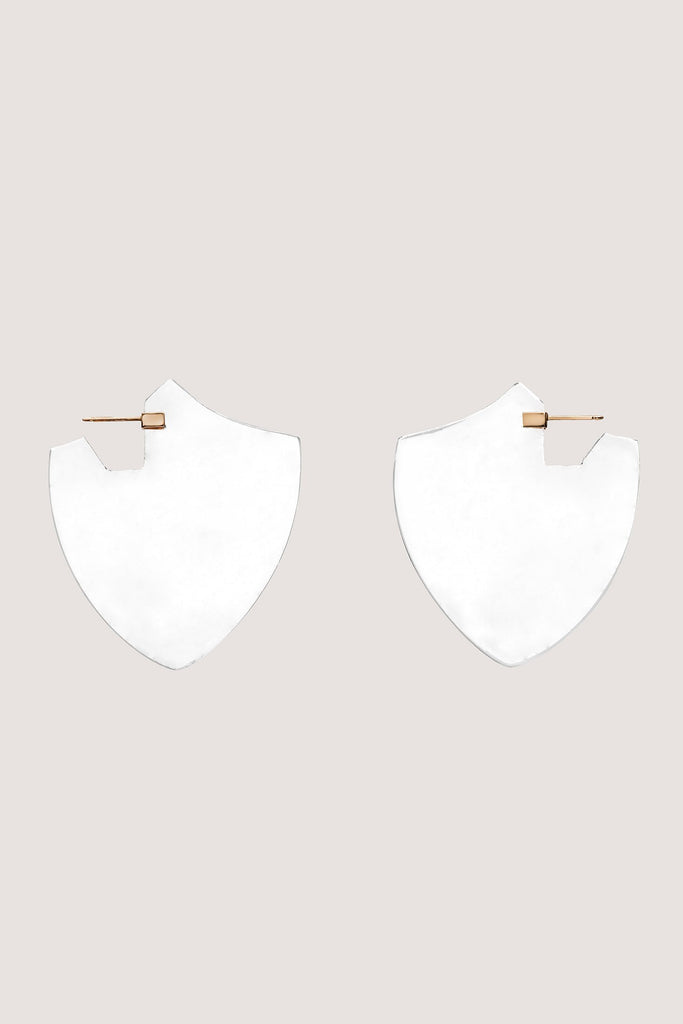 Clark Heldman - Quartz Shield Earrings, Clear