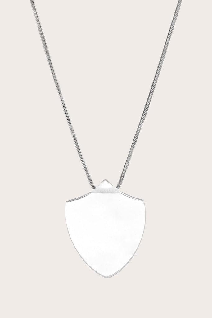 Large Quartz Shield Pendant, Clear