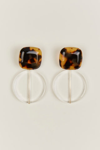 Arc Earrings, Tortoise & Clear