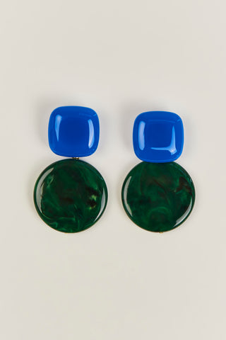 Arc Earrings, Blue/Malachite