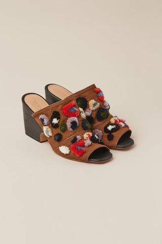 Dahl Open Toe Mule, Black Leopard Embroidery