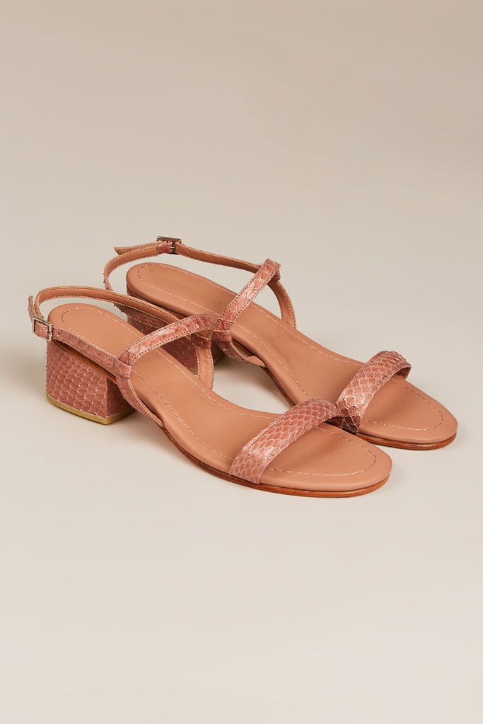 Wynd Low Heel Sandal, Blush Snake